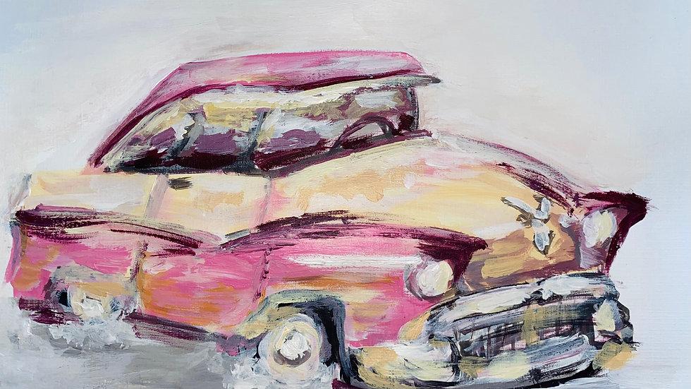 Vintage Pink Sports Car