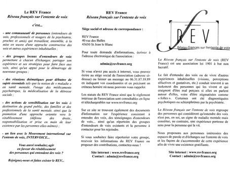 REV France le réseau français des entendeurs de voix