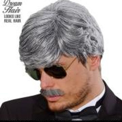 """""""GREY PLAYBOY DREAM HAIR WIG & MOUSTACHE"""" ... W L9197"""