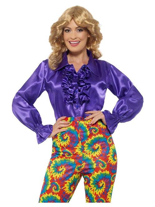 «Satin Ruffle Shirt, Ladies, Purple». 43070 S