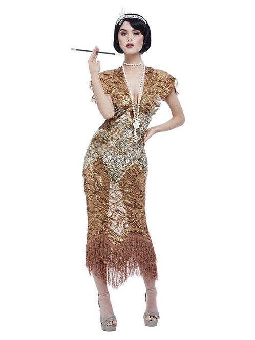 Deluxe 20s Sequin Gold Flapper Costume. 55079 Smiffys