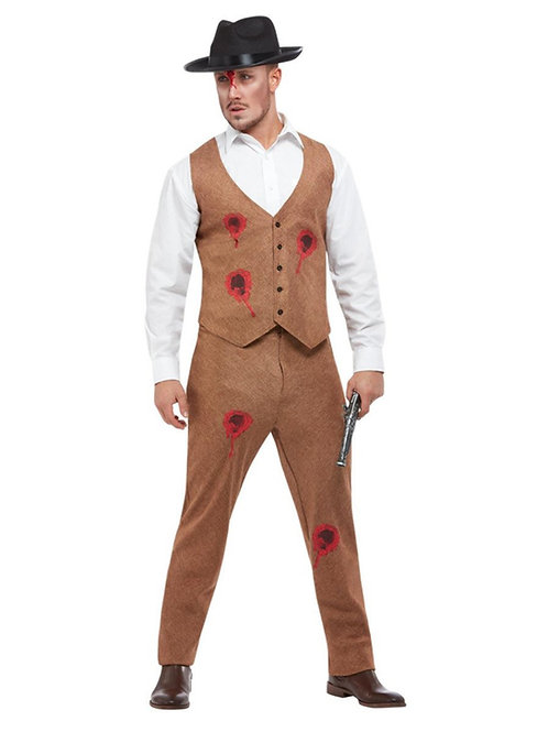 Clyde Zombie Gangster Costume, Brown. 63055 Smiffys