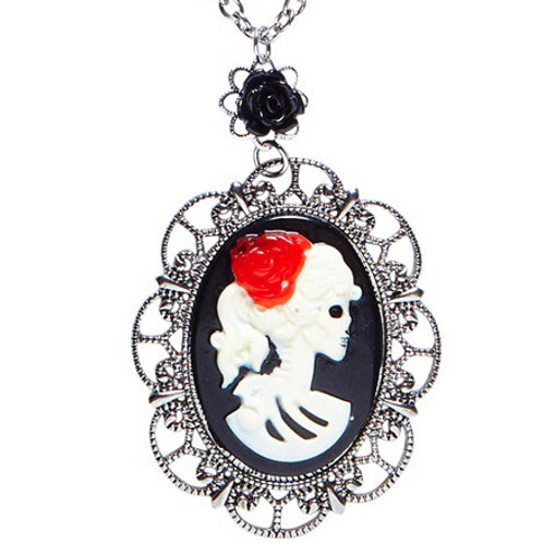NECKLACE WITH BLACK ROSE & SKULL CAMEO. 03587 Widmann