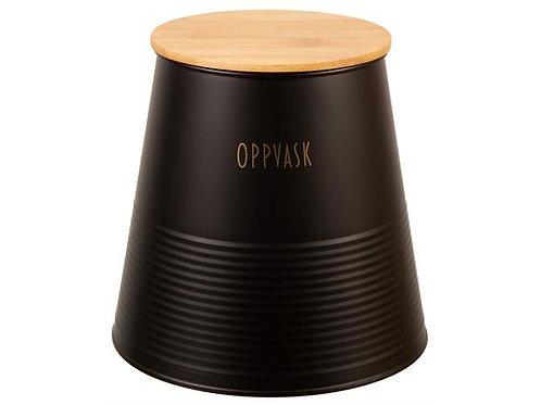Boks Oppvask sort metall m/bambuslokk h:17,5cm
