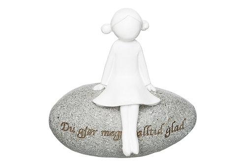Figur på stein Alltid glad h:8cm Du gjør meg alltid glad Varenr 106189