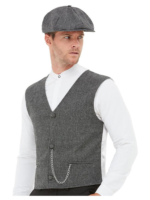 20s Gangster Kit, Grey, with Waistcoat & Flat Cap. 50727 S