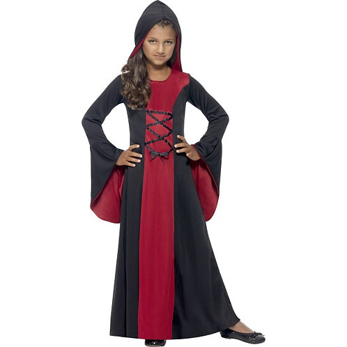 Hooded Vamp Robe Costume, Red & Black, With Lace-Up Detail SKU: 43031