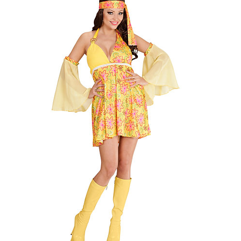 """70s GIRL"" yellow - (dress, armbands with veil)"