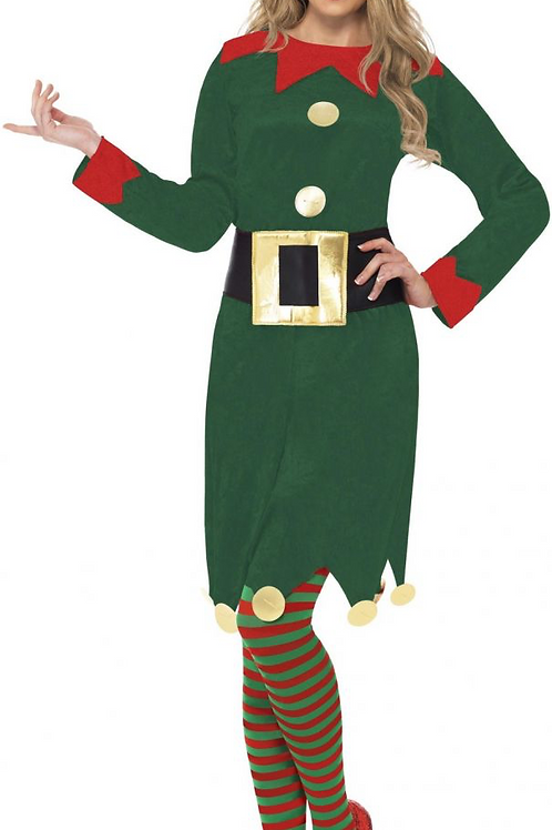 Elf Costume, Green, with Dress, Hat & Belt 31995 S