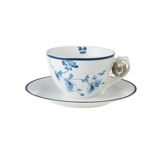 CAPPUCCINO KOPP/SKÅL CHINA ROSE LAURA ASHLEY BLÅ/HVIT PO