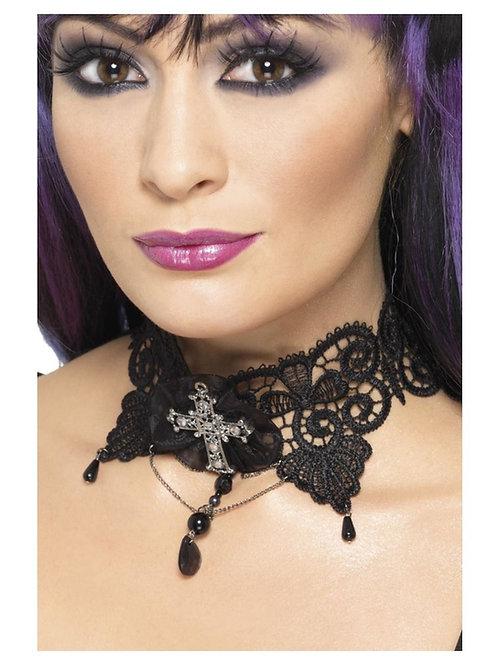 Gothic Lace Choker, Black. 36998 S