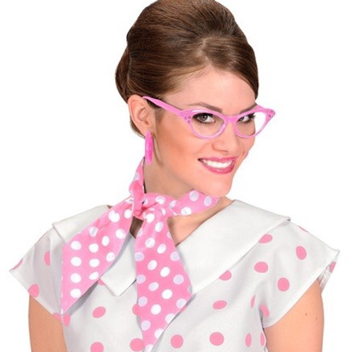 'The 50s Fashion'. Satin Sash Pink With White Dots. 00038 W