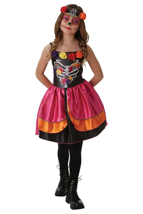 SUGAR SKULL DAY OF THE DEAD COSTUME – CHILDRENS. 640058 RUBIES