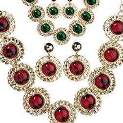 """""""RENAISSANCE QUEEN SET"""" red & green gems ass. (necklace, earrings). 5037 G W"""
