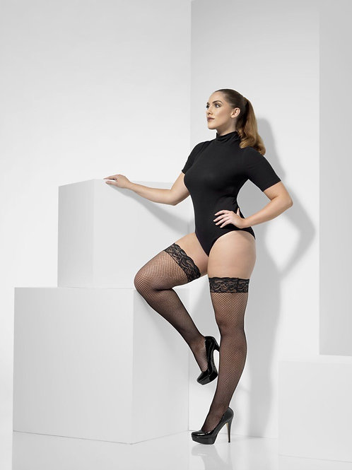 FISHNET HOLD-UPS, BLACK, LACE TOPS, EXTRA LARGE. 43554 S
