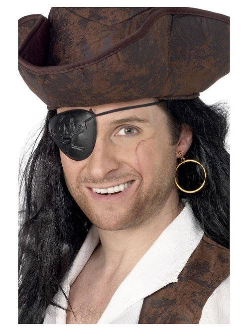 Pirate Eyepatch and Earring, Black. 3909 S