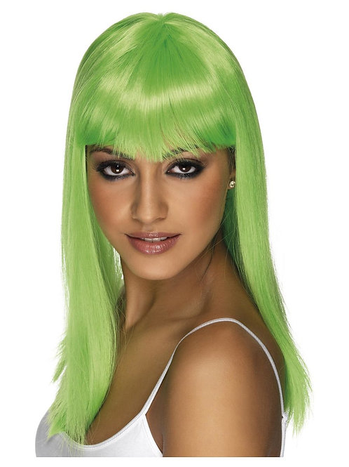 Glamourama Wig, Neon Green, Long, Straight with Fringe. 42159 S