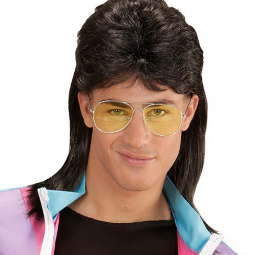 BLACK 80's MULLET WIG WITH GLASSES. 01853 Widmann
