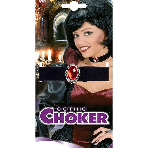 """""""BLACK VELVET CHOKER WITH RED STONE"""" (7964R)"""