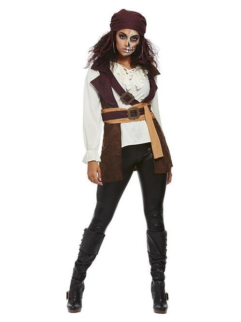 Dark Spirit Pirate Lady Costume, Brown. 63008 Smiffys