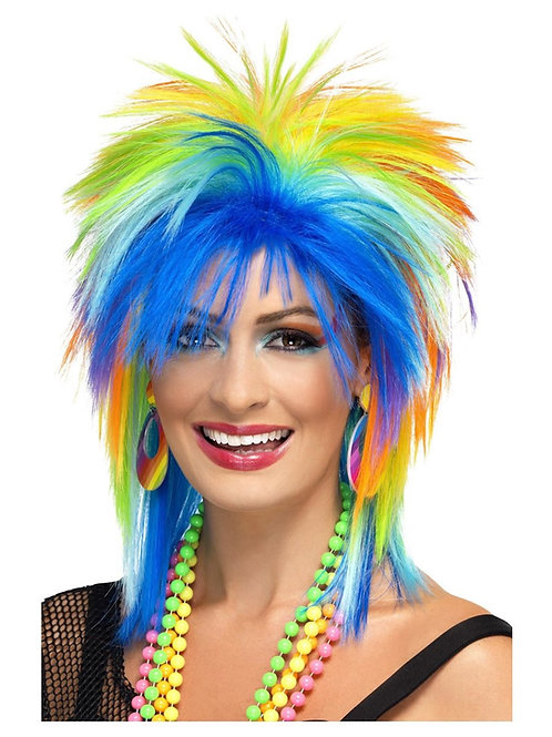 80s Rainbow Punk Wig, Multi-Coloured. 41406 S