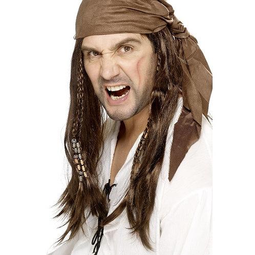 Buccaneer Pirate Wig,Brown