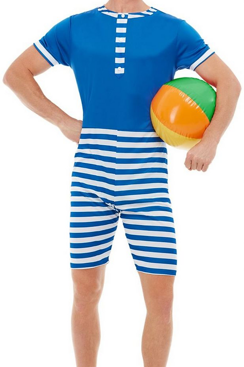 20s Bathing Suit Costume, Blue & White, with Short Jumpsuit, Hat & Mo.. 50726 S