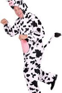 """""""FUNNY COW"""" (hooded jumpsuit with mask) 9933C W"""