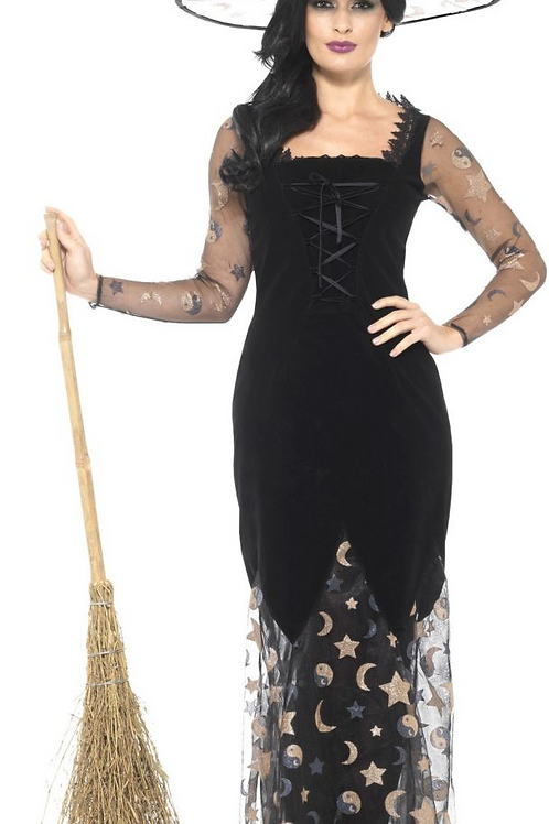 Deluxe Moon & Stars Witch Costume, Black & Gold, with Dress & Hat 45110 S