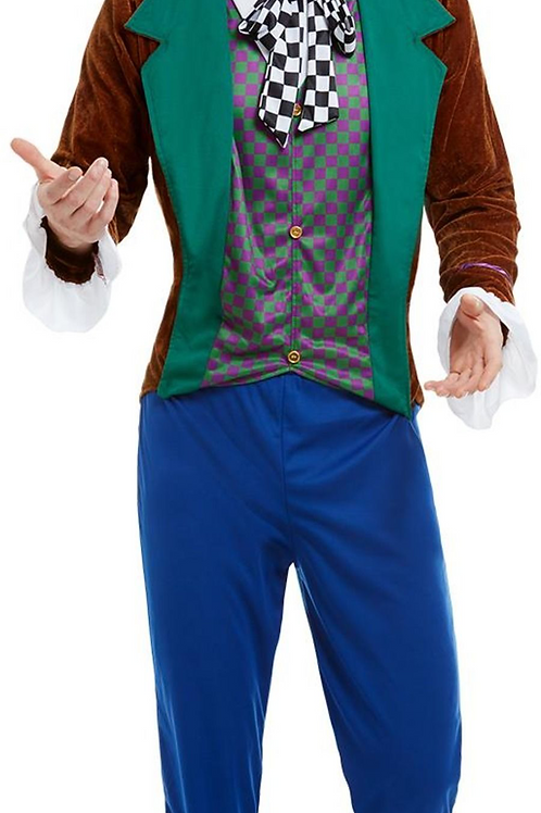 Mad Hatter Costume, Multi-Coloured, with Jacket, Trousers & Hat S 50729