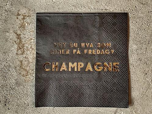 Serviett sort 25x25cm Champagne fredag  Produktnr: C67002