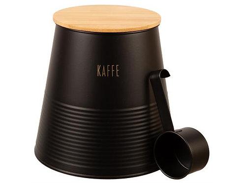 Boks Kaffe sort metall m/skje/bambuslokk h:17,5cm