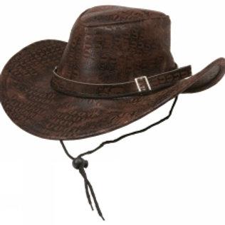 Cowboyhatt brun, slangeskinnmønster