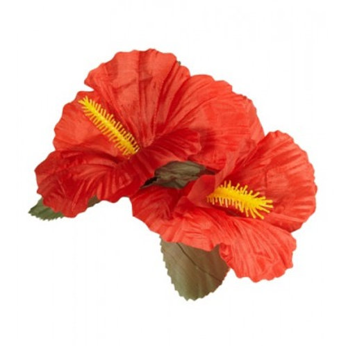 2 Red Hibiscus Flowers Hairclip.1845R W