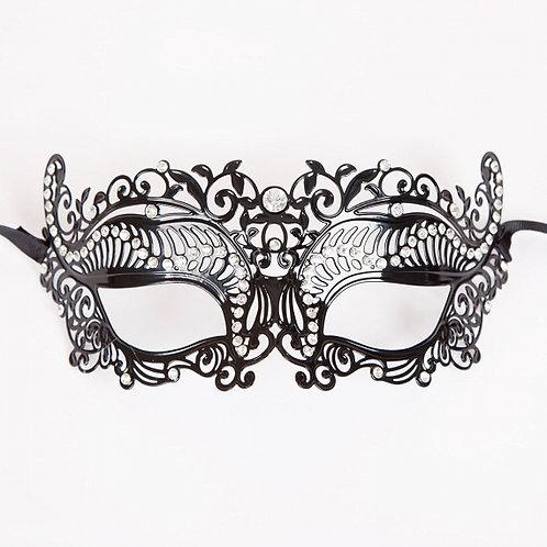 Black metallic eyemask with rhinestones. MK-9947 Wicked