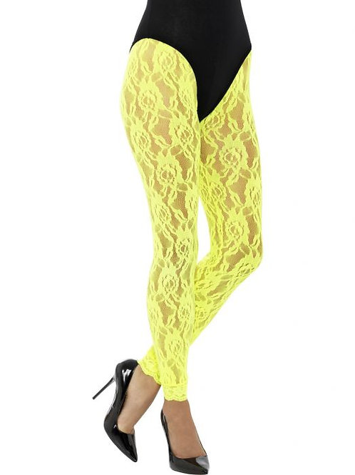 80s Lace Leggings, Neon Yellow. 45161 S
