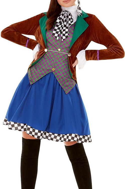 Miss Hatter Costume, Multi-Coloured, with Jacket, Attached Waistcoa... 47784 S