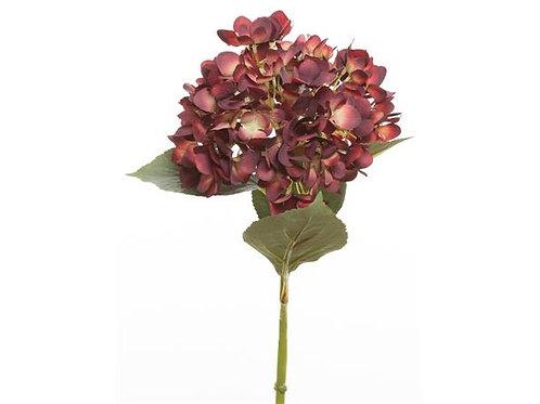 Blomst hortensia rød/grønn 66cm