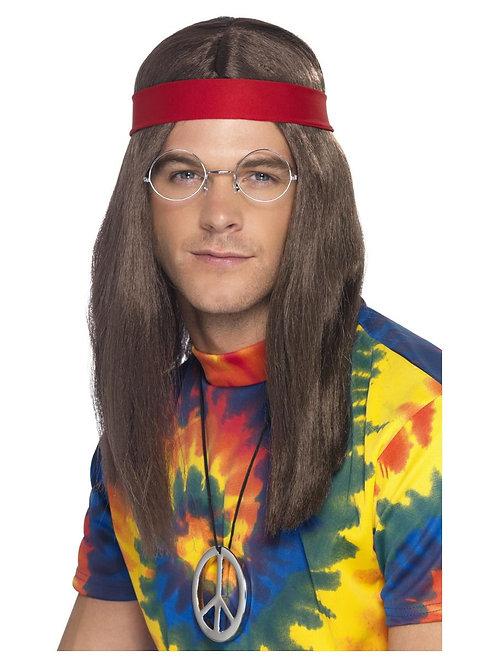 Hippie Man Kit, Brown, with Wig, Specs, Medallion & Headband. 21337 S