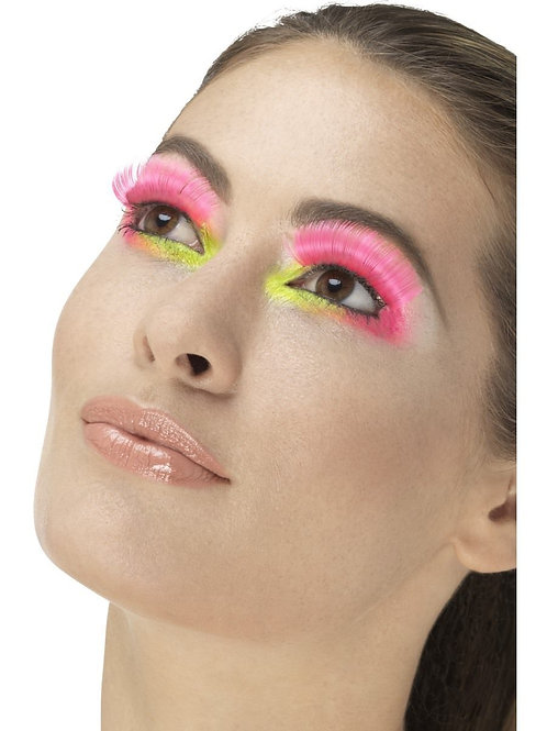 80s Party Eyelashes, Neon Pink. 48081 Smiffys