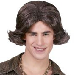 """""""BROWN 70s DISCO DUDE WIG"""" in box W 46936"""