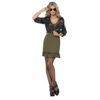 Sexy Top Gun Costume, With Dress and Bomber Jacket 39449 S