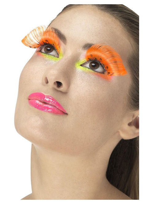 80s Polka Dot Eyelashes, Neon Orange. 48093 S