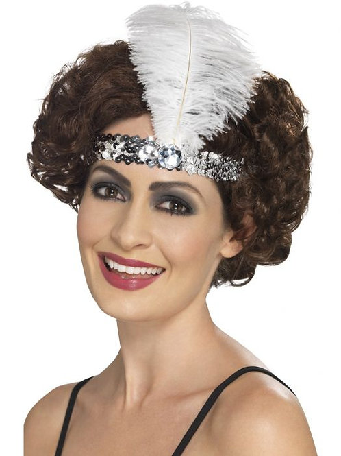 Flapper Headband, Silver, with Feather SKU 45199