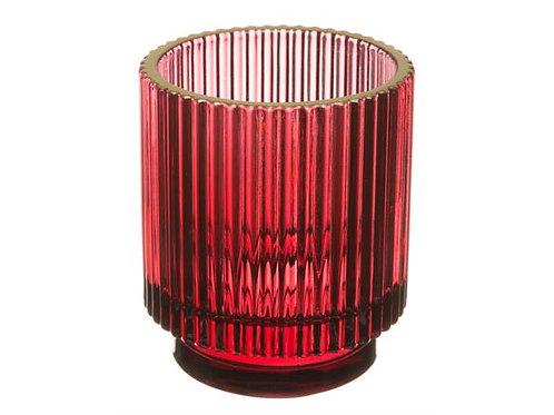 Telysglass rett rød m/gullkant h:8cm Varenr: 109816