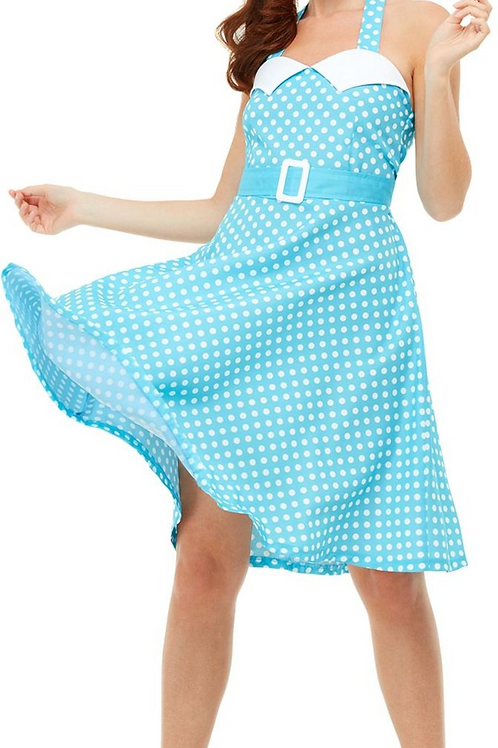 50s Pin Up Costume, Blue, with Halter Neck Swing Dress 47785 S