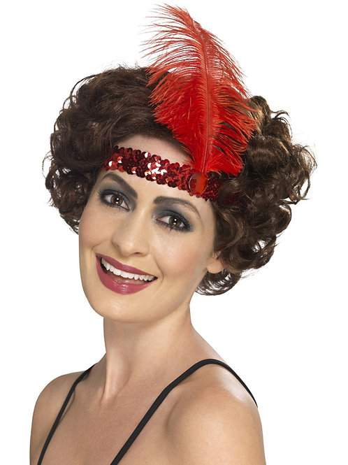 Flapper Headband, Red, with Feather SKU 44663
