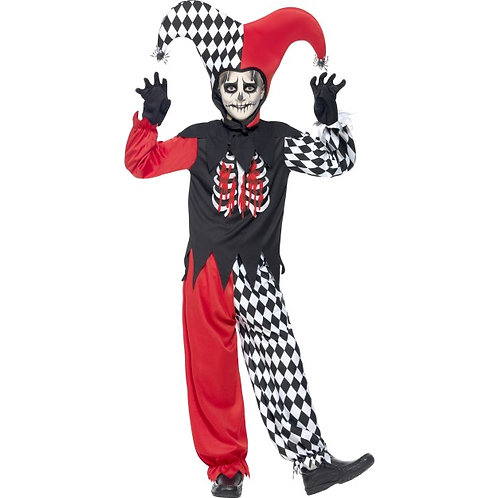 Blood Curdling Jester Costume, Black, with Trousers, Top, Hat and Gloves