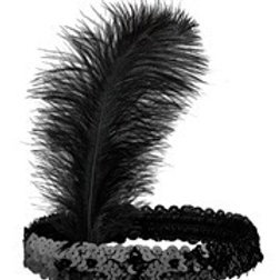 Black Sequin Headband with Black Feather. 00315 W