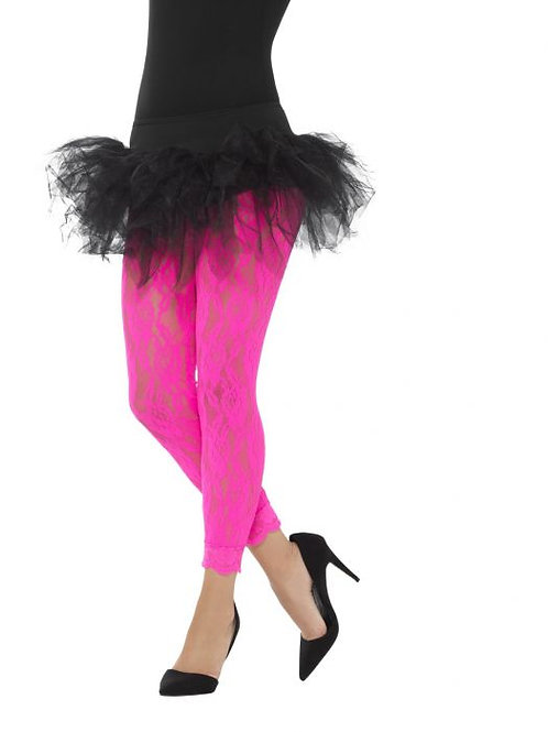 80s Lace Leggings, Neon Pink SKU 45130
